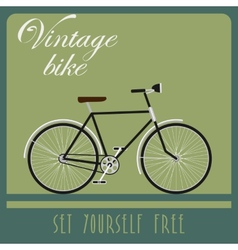 Vintage card of black bicycle in retro style vector image