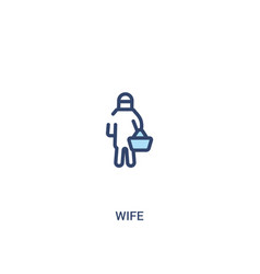 Wife concept 2 colored icon simple line element vector