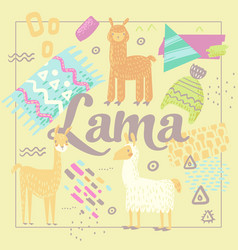 Wildlife lamas design handdrawn abstract childish vector