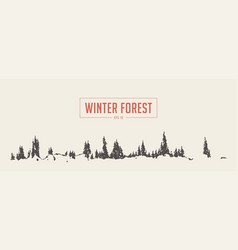 Winter fir forest background drawn sketch vector