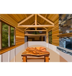 Interior hall in a wooden house vector image