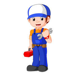 mechanic holding utility box vector image vector image