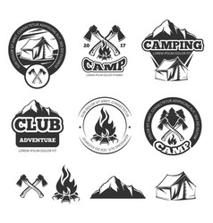 nature vintage labels set for scout camp camping vector image vector image