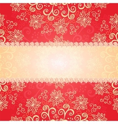 Red floral ornament background vector image