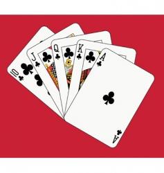royal flush clubs vector image