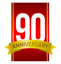 white digits 90 on red ninety years sign vector image vector image