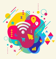 Wi fi on abstract colorful spotted background with vector image