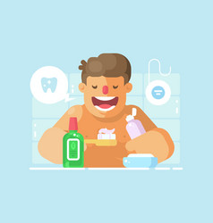 young guy brushing teeth with whitening paste vector image