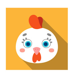Hen muzzle icon in flat style isolated on white vector