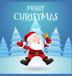 merry christmas happy santa claus in forest vector image