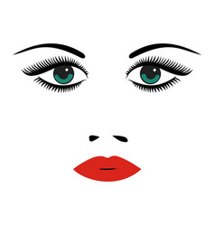 portrait of beautiful young woman with green eyes vector image