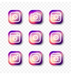 Simple camera icon set social media vector image