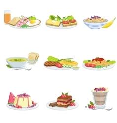 European Cuisine Dish Assortment Menu Items vector image