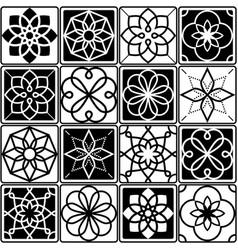 finnish inspired seamless folk art pattern in blac vector image vector image