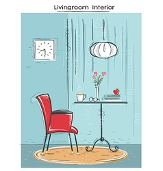 Livingroom interior place for reading or relaxHand vector image