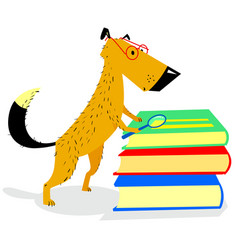 smart dog with glasses reading books vector image