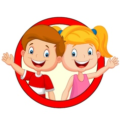 Cute children waving hand vector image