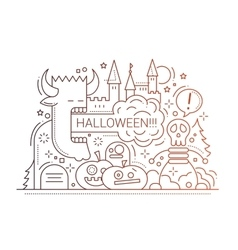 Halloween - line flat design card vector image