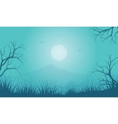 Silhouette of halloween foggy and moon vector