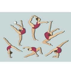 Woman stretching gymnastic exercises sport vector