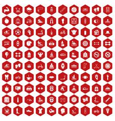 100 men health icons hexagon red vector