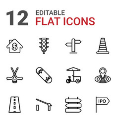 12 street icons vector image
