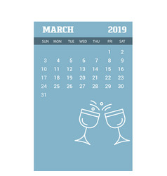 2019 happy new year march calendar template vector image