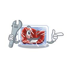 A picture frozen beef mechanic mascot design vector