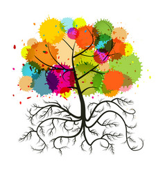 abstract tree with roots and colorful splashes vector image