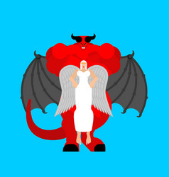 Angel woman and demon man beautiful archangel and vector