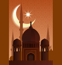 Arab islamic architecture mosque moonlit night vector
