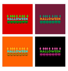 Assembly flat icons candle halloween vector