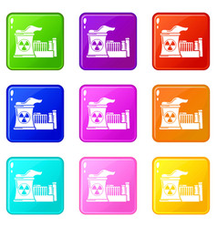 Atomic reactor icons set 9 color collection vector