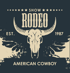 Banner for a cowboy rodeo show with a bull skull vector