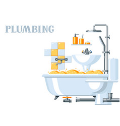 bathroom interior plumbing background vector image