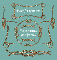 big set vintage ropes corners and frames vector image