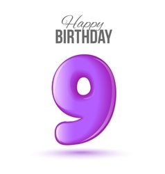 Birthday greeting card template with glossy number vector image