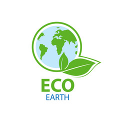 Blue planet in circle a green leaf symbol vector