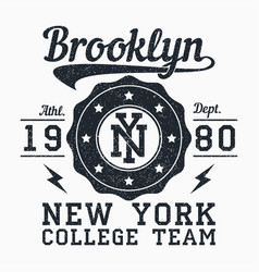 Brooklyn new york grunge print for apparel vector