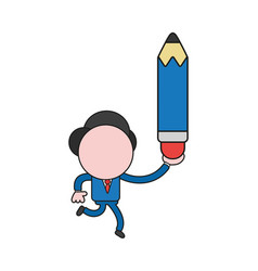 businessman character running and holding pencil vector image