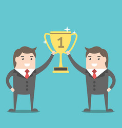 businessmen holding winner cup vector image