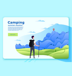 Camping banner man looking on forest mountains vector