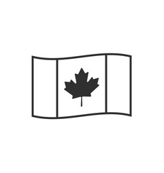 canada flag icon in black outline flat design vector image