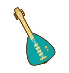 Cartoon green electric guitar bass instrument icon vector