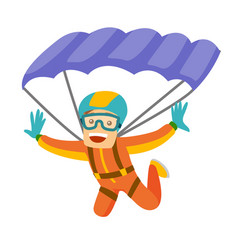 Caucasian white man flying with a parachute vector