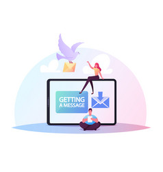Characters sending or getting messages concept vector