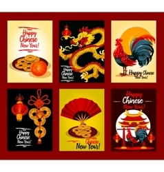 Chinese New Year festive greeting card set design vector image