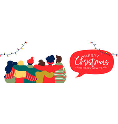 christmas and new year friend group hug web banner vector image