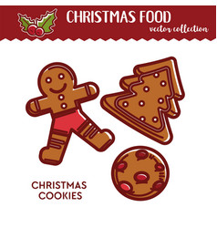 christmas food or snack gingerbread cookies vector image