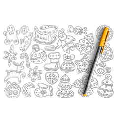 christmas gingerbread and biscuits doodle se vector image